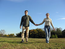 Couple. And autumn royalty free stock image
