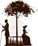 Couple. Retro illustration of reading couple under the tree Stock Images