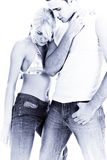 Couple. Young couple in dancing position, studio on white Stock Images
