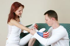 Couple 4. Young couple playing with boxing glove stock photos