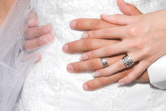 Couple. Bride and Groom holding hands against a white gown background Royalty Free Stock Images