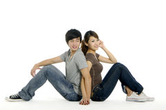 Couple. Young happy couple on white background Royalty Free Stock Images