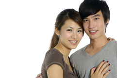 Couple. Young happy couple on white background Stock Photography
