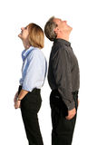 Couple. Back to back looking up stock photography