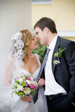 Couple. On the image there is bride and bridegroom stock photos