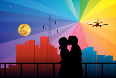 Couple. Vector illustration of romantic couple in the city Royalty Free Stock Photography