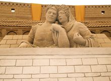 Couple. Caesar & Wife sand structure on Beach Royalty Free Stock Photography