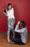 Couple in action photo Royalty Free Stock Photography