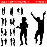 Couple in action silhouette Royalty Free Stock Image