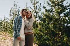 Free Couple Admiring A View While Hiking Stock Image - 118863991