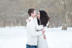 Couple admiring each other in snowy winter Royalty Free Stock Photo