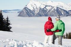 Couple Admiring Mountain View Royalty Free Stock Photos