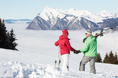 Couple Admiring Mountain View In Mountains Royalty Free Stock Image