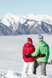 Couple Admiring Mountain View In Mountains Stock Photos