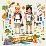 Couple adventure character design with survial icon kit. Adventu Royalty Free Stock Photo