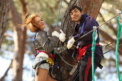 Couple in adventure park Stock Image
