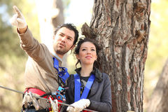Couple in adventure park Royalty Free Stock Photo