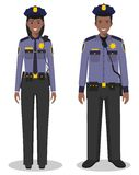 Couple of african american policeman and policewoman standing together on white background in flat style. Police USA. Couple of african american police people vector illustration