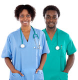 Couple of African Americans doctors stock images