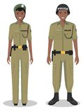 Couple of african policeman and policewoman standing together on white background in flat style. Police USA concept Stock Photos