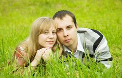 Couple against  summer park Stock Image
