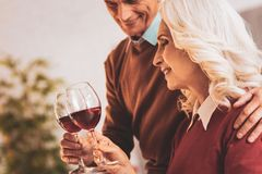 Couple of aged people enjoying wine evening together royalty free stock images