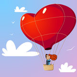 Couple with air balloon. Couple with red air balloon Royalty Free Stock Images