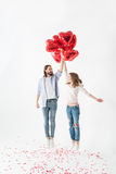 Couple with air balloons Stock Photography
