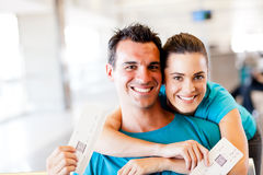 Couple at airport Stock Images