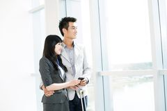 Couple in airport Stock Photo