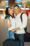 Couple at airport Stock Photos