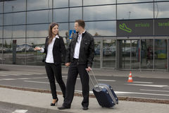 Couple at the airport Royalty Free Stock Image