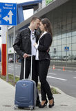 Couple at the airport Royalty Free Stock Photography