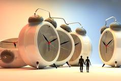 Couple and alarm clocks. 3d illustration of couple and alarm clocks, time passing concept Stock Photography