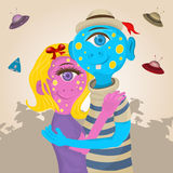 Couple aliens hugginng together Stock Images