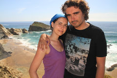 Couple and Alteirinhos beach royalty free stock photography