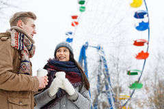 Couple in amusement park Royalty Free Stock Image