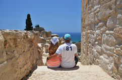 A couple among ancient ruines, Cyprus Royalty Free Stock Photography