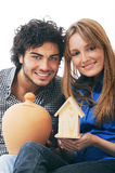 Couple And Moneybox Royalty Free Stock Image