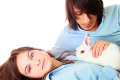 Couple And Rabbit Royalty Free Stock Images
