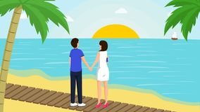 Free Couple And Sunset Vector Illustration. Young Boy And Girl Enjoy Romantic Evening Date At Sandy Beach With Palm Trees Stock Photos - 158883443