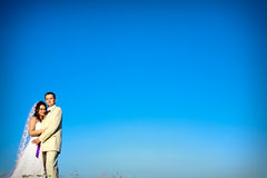 Couple andl blue sky in evening copy space Royalty Free Stock Photos
