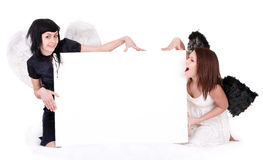 Couple of angel with banner. Royalty Free Stock Images