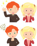 Couple of anxious and worried expression and couple of joyful. Expression. Cartoon illustration Royalty Free Stock Image