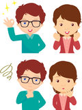 Couple of anxious and worried expression and couple of joyful ex. Pression. Cartoon illustration Royalty Free Stock Photo