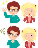 Couple of anxious and worried expression. And couple of joyful expression. Cartoon illustration Royalty Free Stock Photos