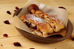 Couple of apple strudel portions Royalty Free Stock Images