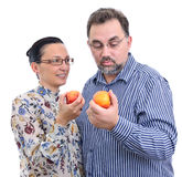 Couple with apples starting diet Royalty Free Stock Photos
