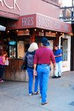 Dining at the Stockyards. A couple approaches the Love Shack, a popular eatery at the Ft Worth Stock Yards, Texas stock image