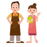 Couple with an apron Stock Images